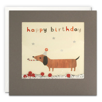 PT3208 - Happy Birthday Dachshund Grey Shakies Card