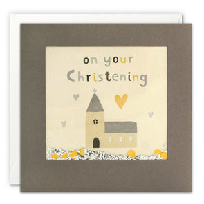 PT3226 - Christening Church Grey Shakies Card
