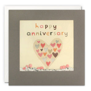PT3227 - Anniversary Heart Grey Shakies Card