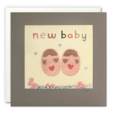 PT3228 - New Baby Pink Shoes Grey Shakies Card