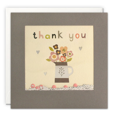 PT3231 - Thank You Flower Jug Grey Shakies Card