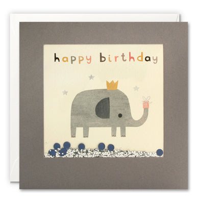 PT3242 - Happy Birthday Elephant Grey Shakies Card