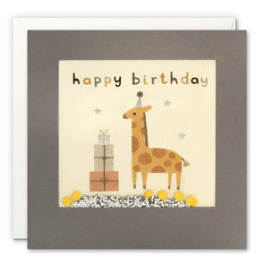 PT3243 - Happy Birthday Giraffe Grey Shakies Card