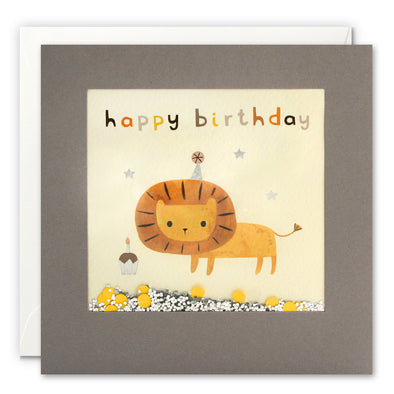 PT3244 - Happy Birthday Lion Grey Shakies Card