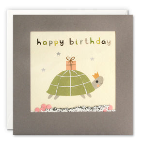 PT3245 - Happy Birthday Tortoise Grey Shakies Card