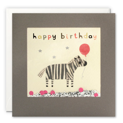 PT3246 - Happy Birthday Zebra Grey Shakies Card