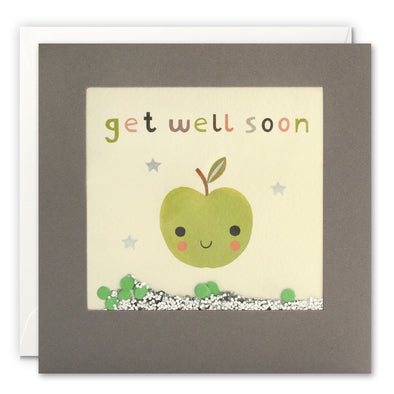 PT3248 - Get Well Soon Green Apple Grey Shakies Card