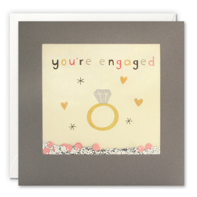 PT3249 - You're Engaged Ring Grey Shakies Card
