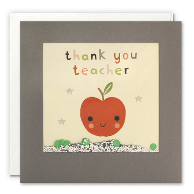 PT3251 - Thank You Teacher Red Apple Grey Shakies Card