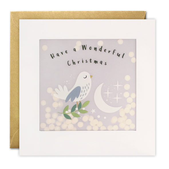 RPP3479 - Dove and Moon Christmas Paper Shakies Card