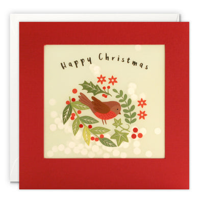 RPP3484 - Robin Christmas Paper Shakies Card