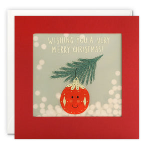 RPP3487 - Red Bauble Christmas Paper Shakies Card