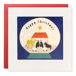 RPP3493 - Nativity Snow Globe Christmas Paper Shakies Card