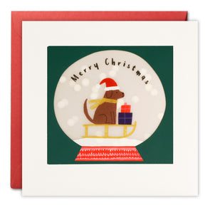RPP3494 - Dog Snow Globe Christmas Paper Shakies Card