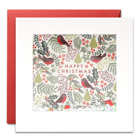 RPS2907 - Robin Pattern Christmas Shakies Card