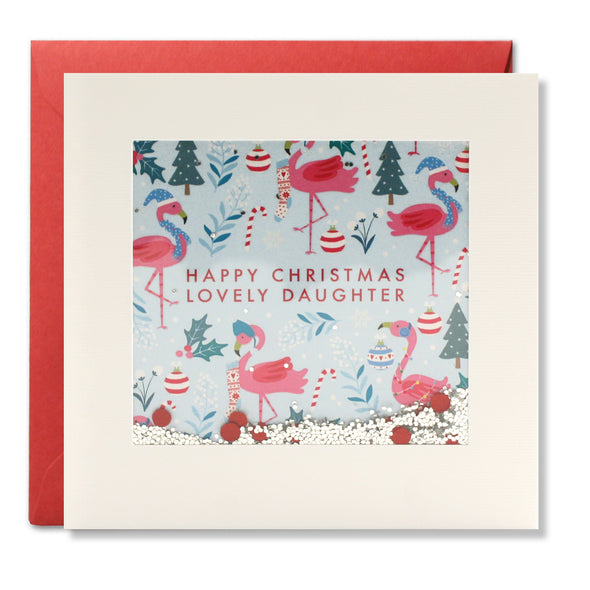 RPS3179 - Daughter Flamingo Pattern Christmas Shakies Card