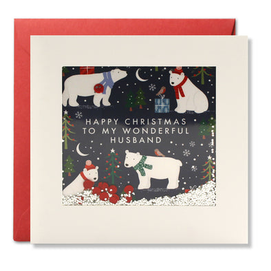 RPS3184 - Husband Polar Bear Pattern Christmas Shakies Card
