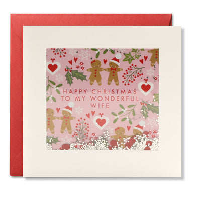 RPS3185 - Wife Gingerbread Pattern Christmas Shakies Card
