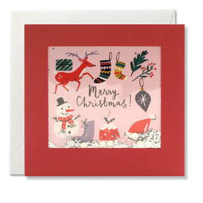 RPS3190 - Retro Pink Christmas Shakies Card