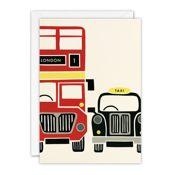 T3392 - Red Bus and Taxi London Blank Retro Press Card