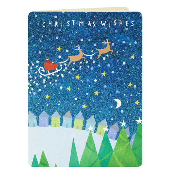 RG2438 - Santa over Houses Paper Christmas Card