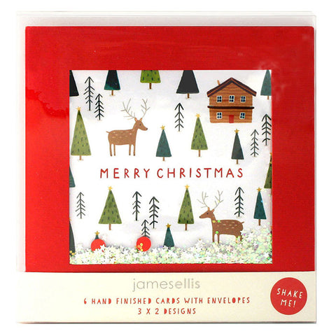 RPB03 - Trees and Reindeer / Sledging pk of 6 Shakies Cards