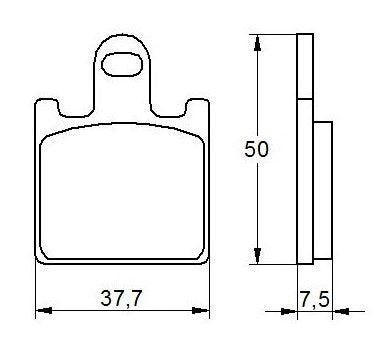 Accossato Brake Pad AGPA107 (dimensions 37,7x50x7,5)