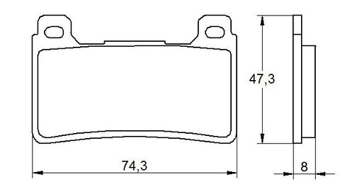Accossato Brake Pad AGPA108 (dimensions 74,3x47,3x8)