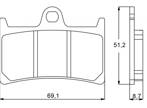 Accossato Brake Pad AGPA97 (dimensions 69,1x51,2x8,7)