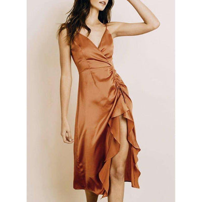 The Skye Satin Ruffle Slip Dress