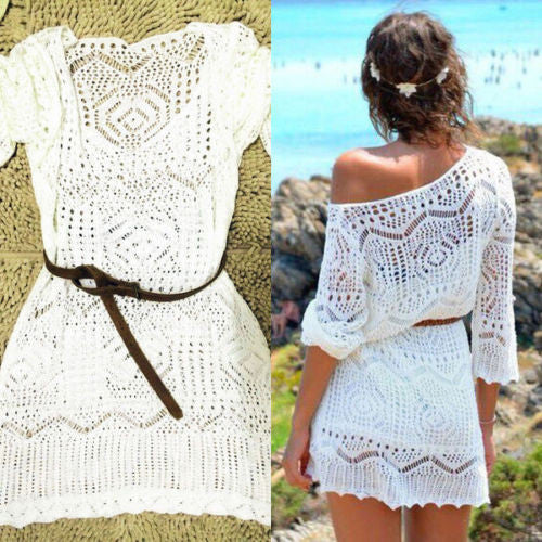 Crochet Lace Solid White Half Sleeves Hollow Out Cover Up Sun Water