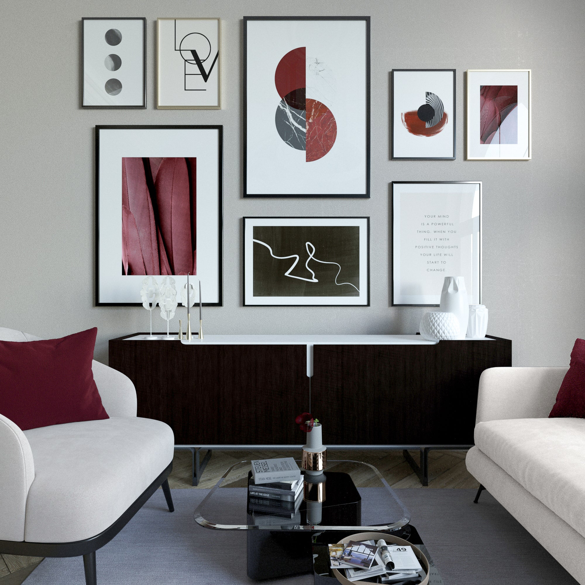 BURGUNDY & BLACK GALLERY WALL