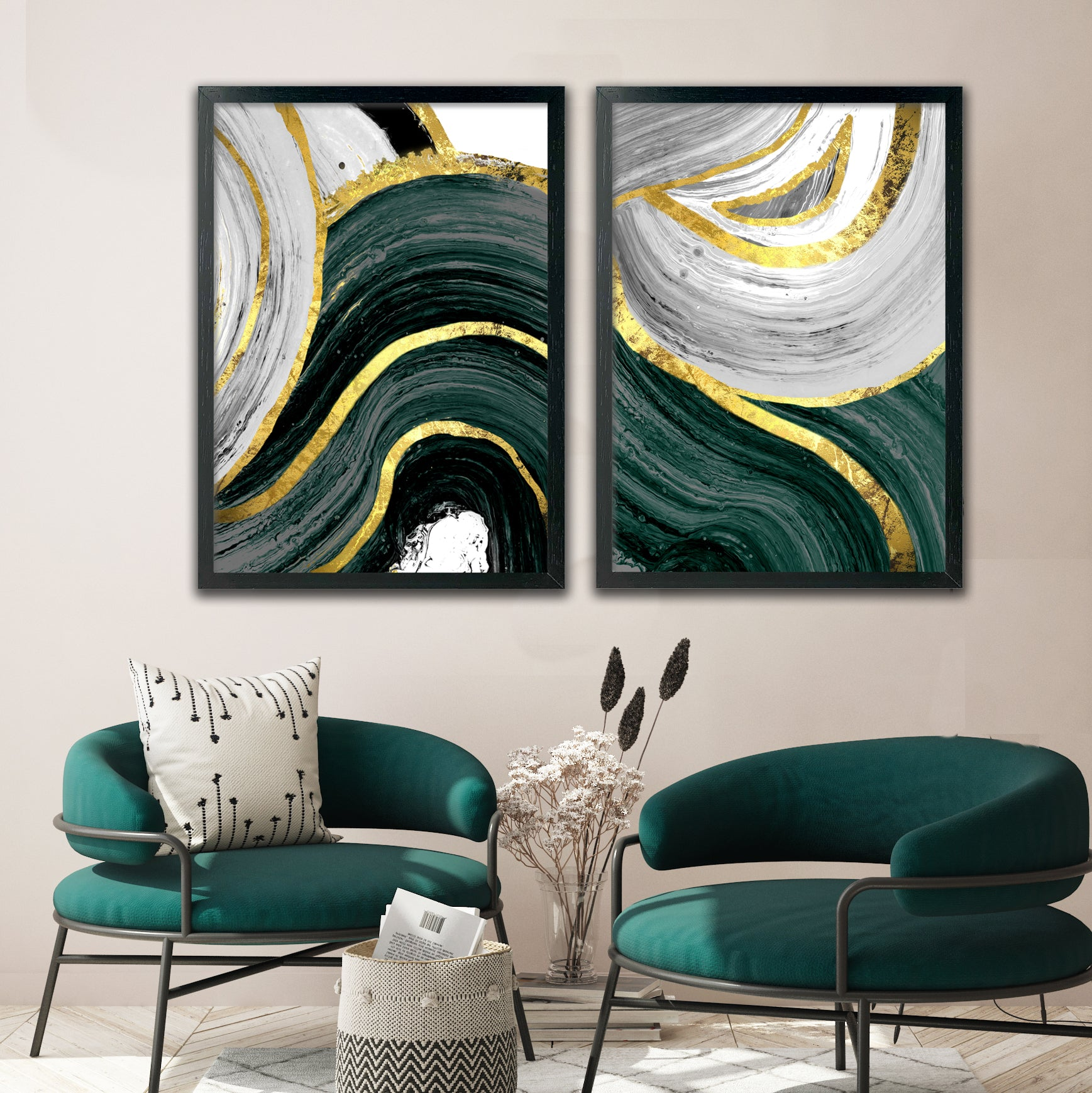 EMERALD & GOLD GALLERY WALL