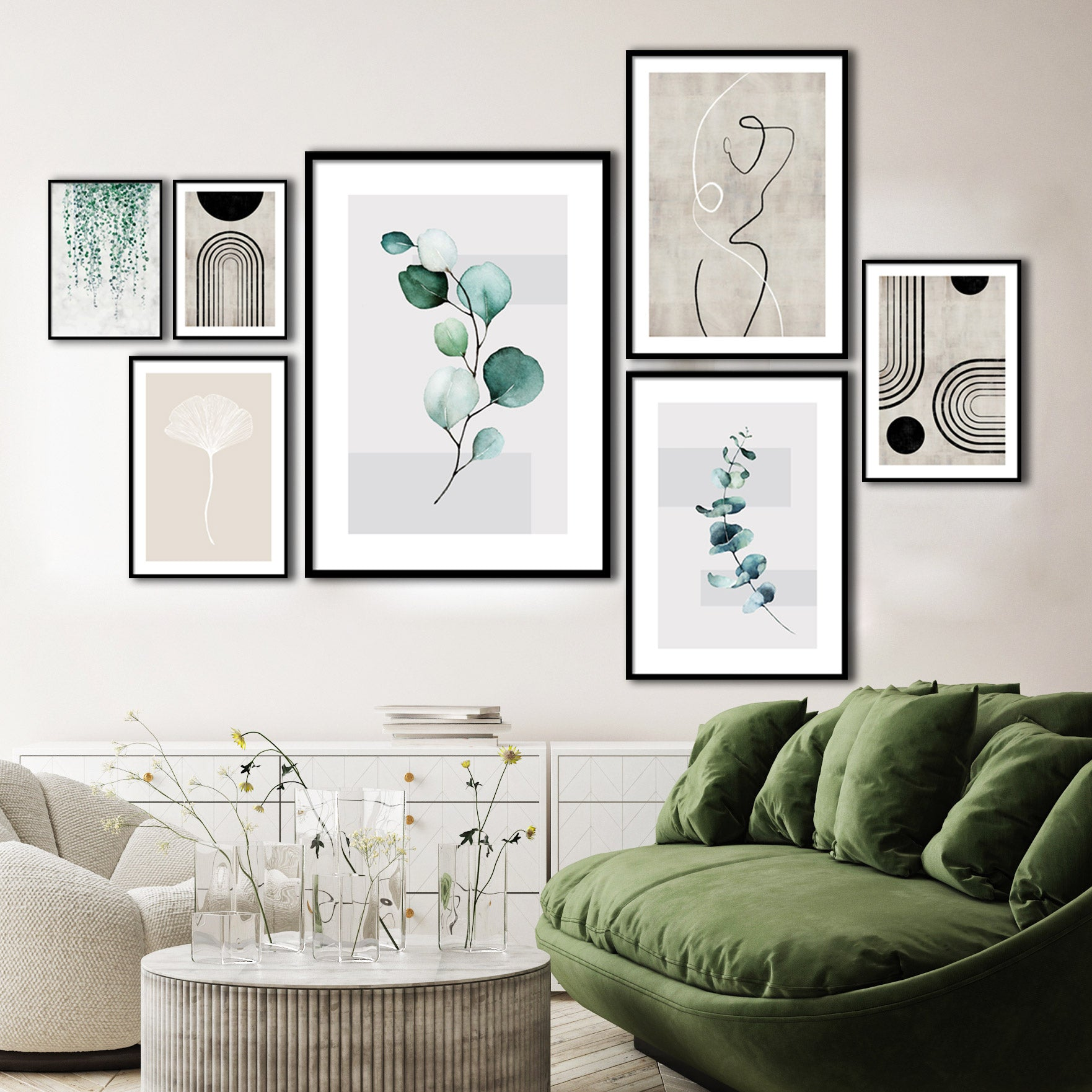 ELEGANT GREENS GALLERY WALL