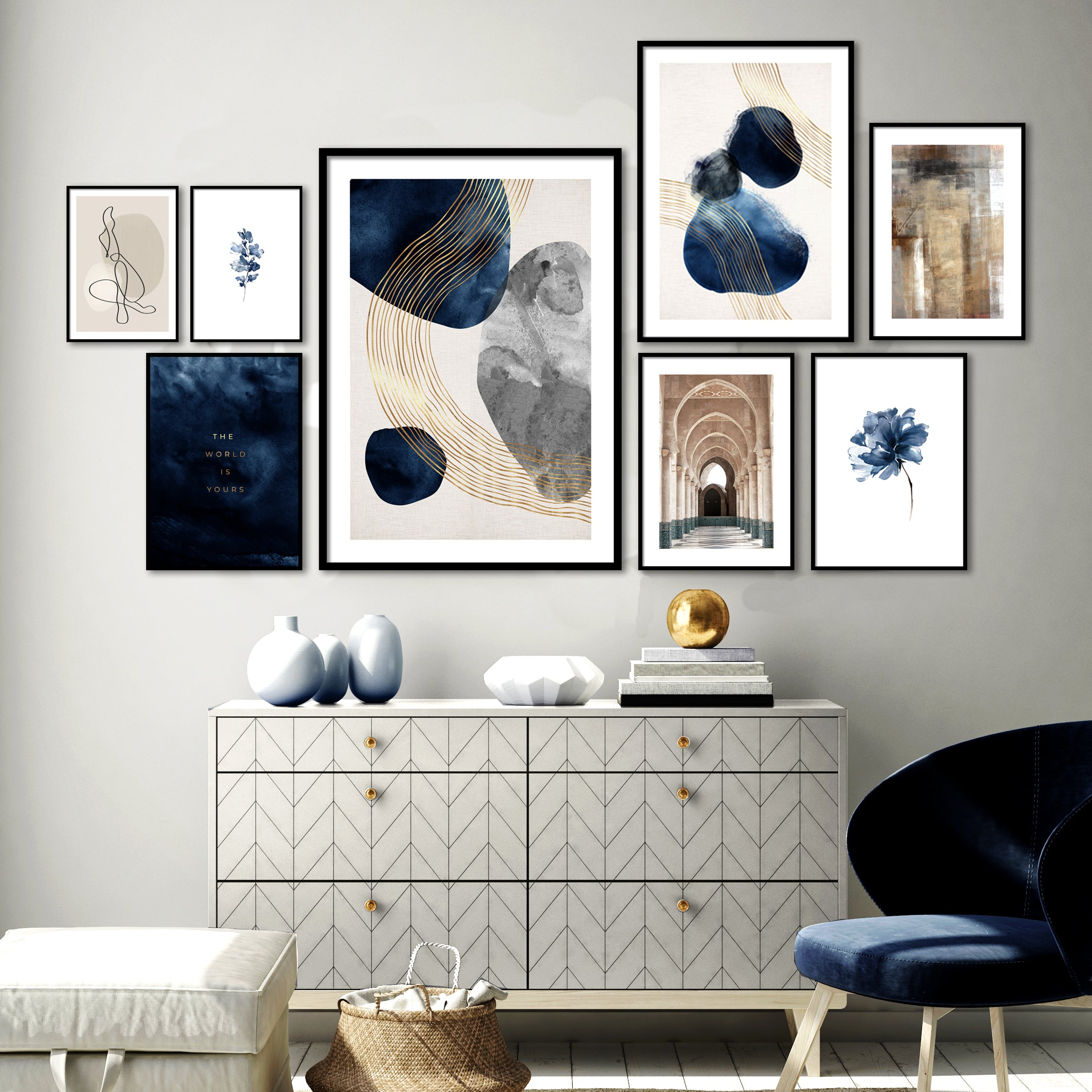 NAVY & BEIGE GALLERY WALL