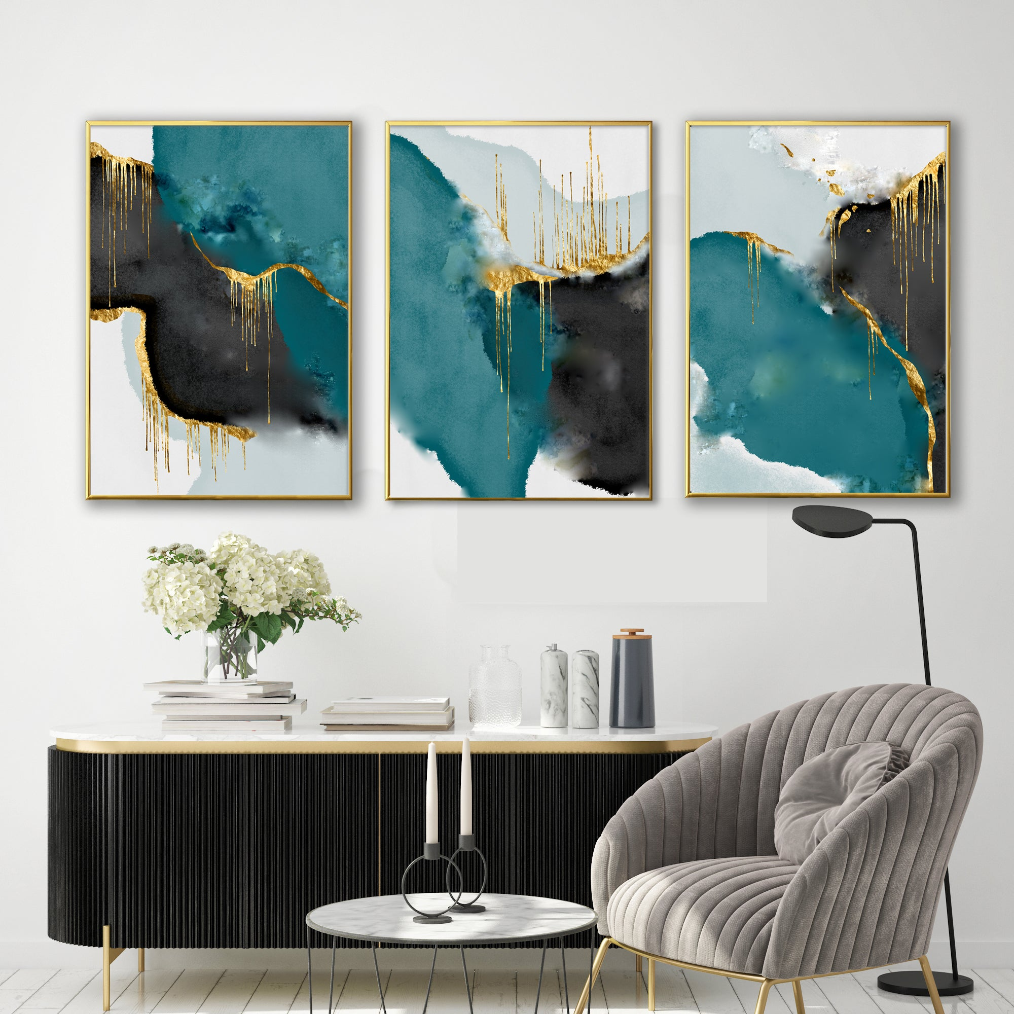 GREEN & GOLD DRIP GALLERY WALL