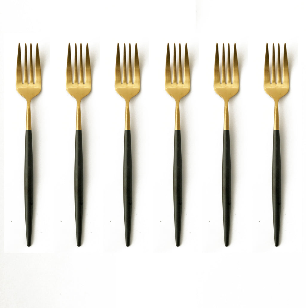 TUSK CAKE FORKS | BLACK AND GOLD | 6 PIECE