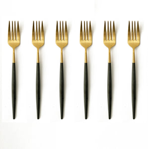 TUSK CAKE FORKS | BLACK AND GOLD | 6 PIECE (10776609416)
