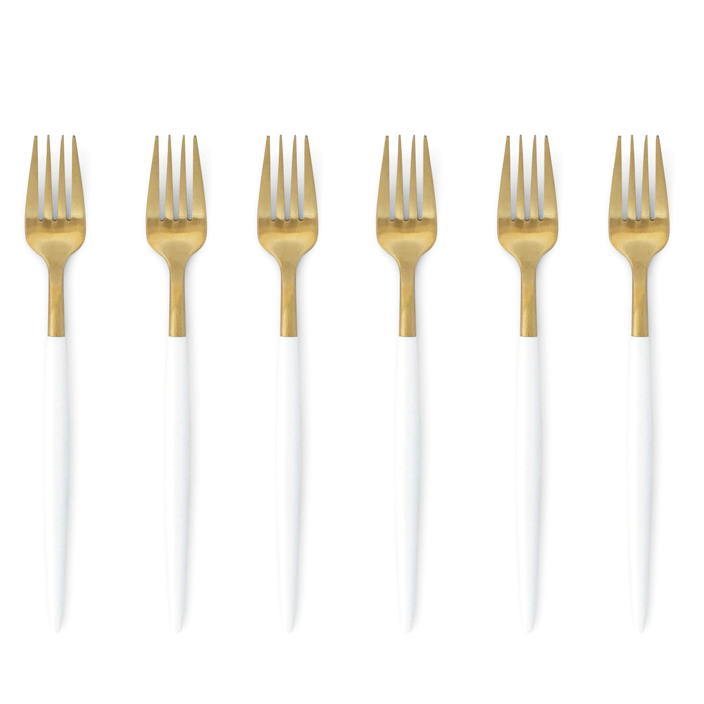 TUSK CAKE FORKS | WHITE AND GOLD | 6 PIECE (10718469960)