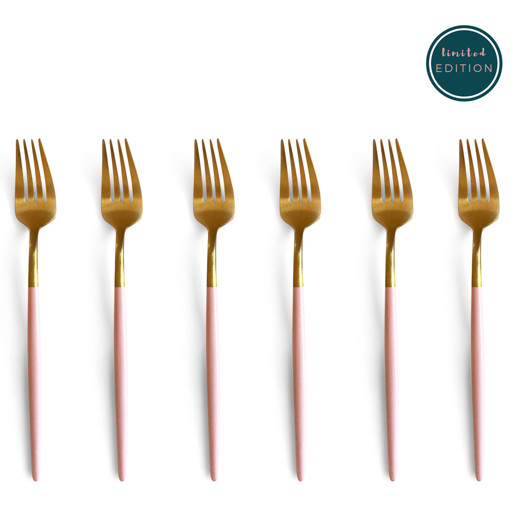 TUSK CAKE FORKS | PINK AND GOLD | 6 PIECE (469027815459)