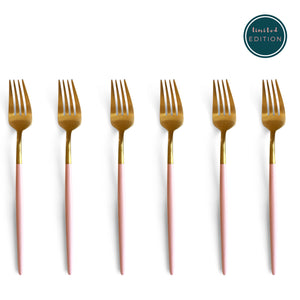 TUSK CAKE FORKS | PINK AND GOLD | 6 PIECE
