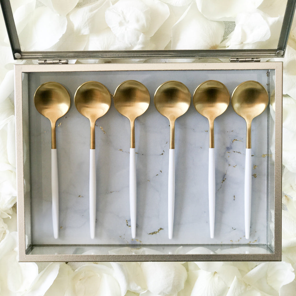 TUSK TEASPOONS | WHITE AND GOLD | 6 PIECE (10718410888)