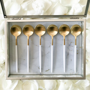 TUSK TEASPOONS | WHITE AND GOLD | 6 PIECE