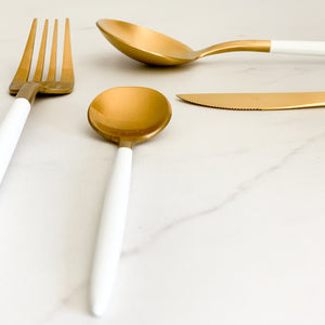 TUSK CUTLERY SET | WHITE AND GOLD | 16 PIECE