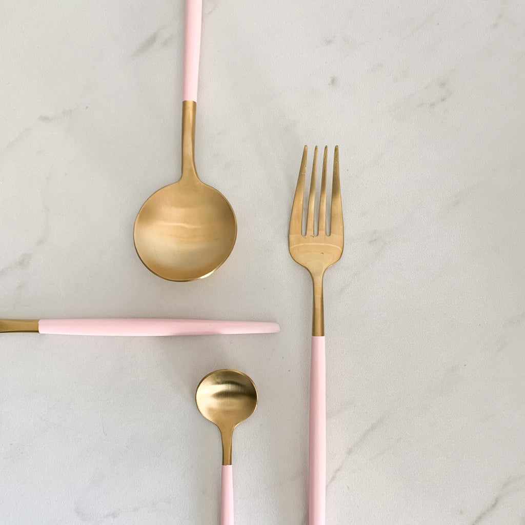 TUSK CUTLERY SET | PINK AND GOLD | 16 PIECE