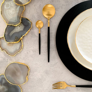 TUSK CUTLERY  SET | BLACK AND GOLD | 16 PIECE