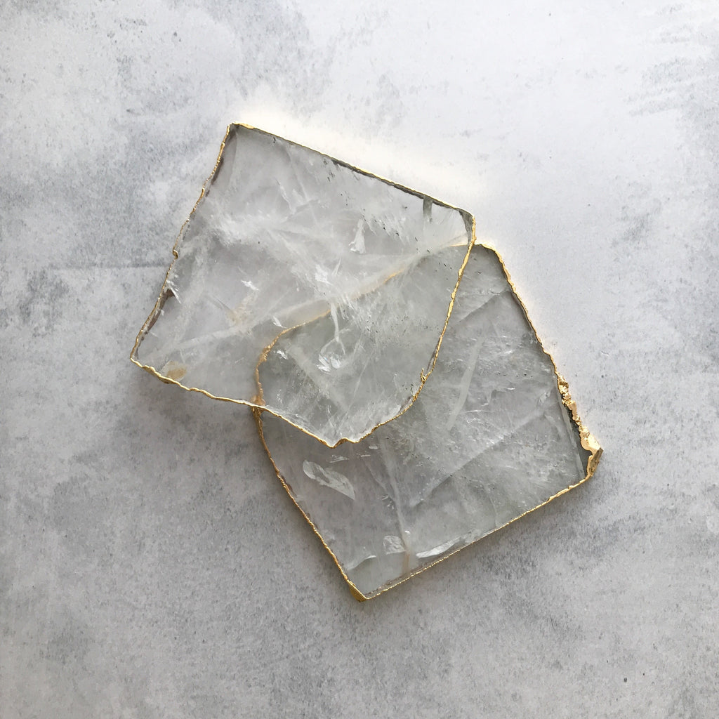 COASTERS | CRYSTAL QUARTZ | SET of 2