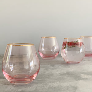 CRYSTAL GLASSWARE | BLUSH  PINK | SET of 4