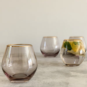 GOLD RIMMED GLASSWARE | SMOKE GREY | SET of 4