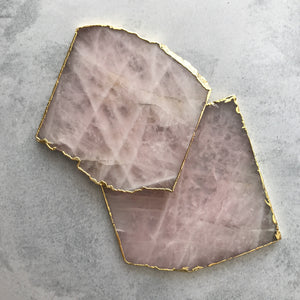 COASTERS | ROSE QUARTZ | SET of 2
